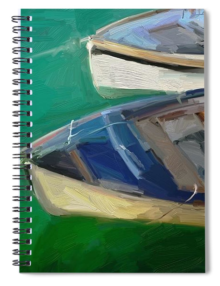 Portreath Spiral Notebook featuring the digital art Portreath Tenders by Scott Waters