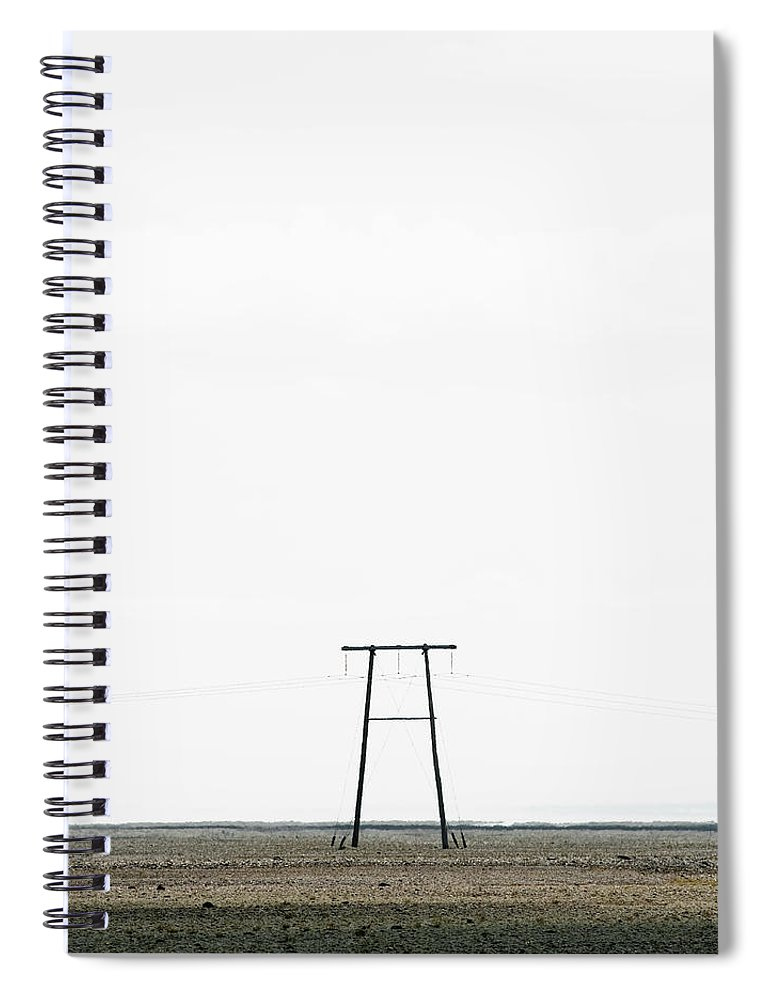 Clear Sky Spiral Notebook featuring the photograph Powerline In Landscape by Roine Magnusson