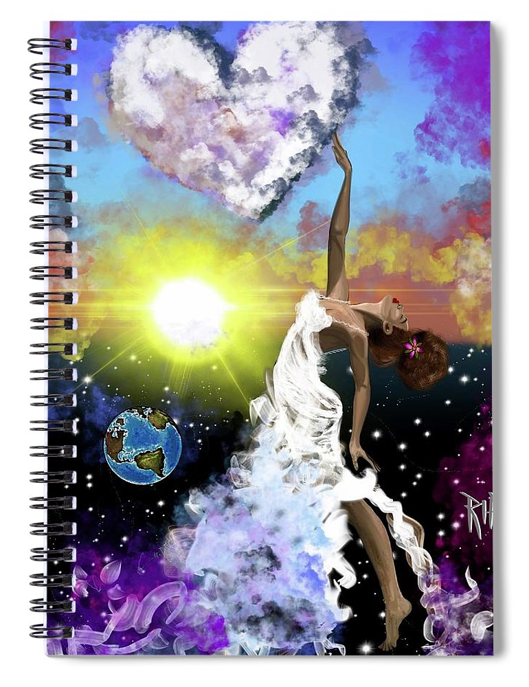 Spiral Notebook featuring the painting Prayer before the Sun Sets by Artist RiA