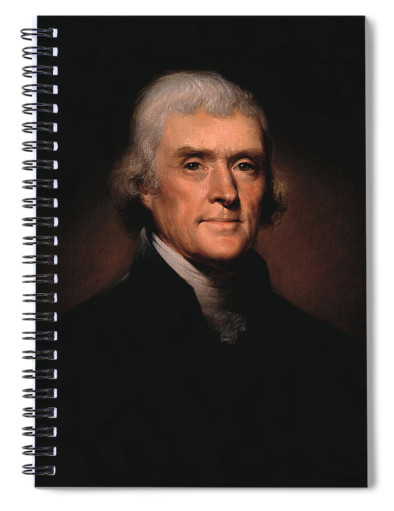 Thomas Jefferson Spiral Notebook featuring the painting President Thomas Jefferson by War Is Hell Store