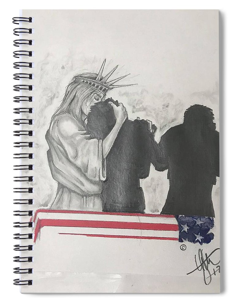 Liberty Spiral Notebook featuring the drawing Price Of Liberty by Howard King