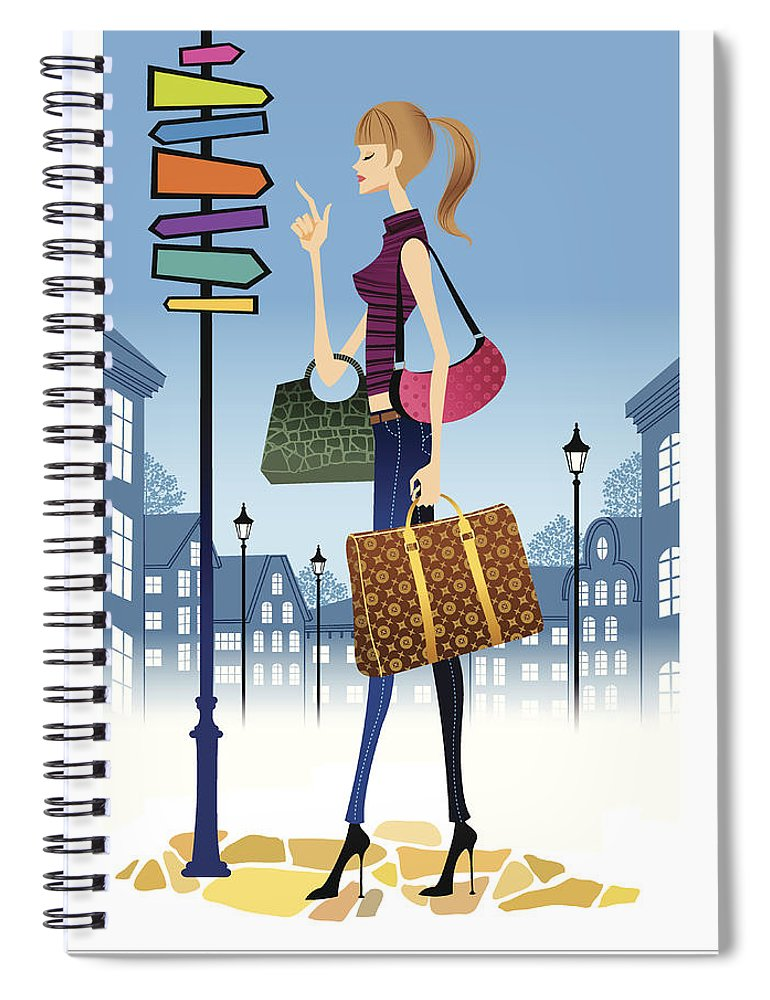 Problems Spiral Notebook featuring the digital art Profile Of Woman Standing In Front Of by Eastnine Inc.