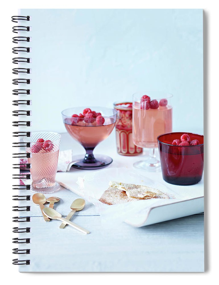 Spoon Spiral Notebook featuring the photograph Prosecco Jellies by Brett Stevens