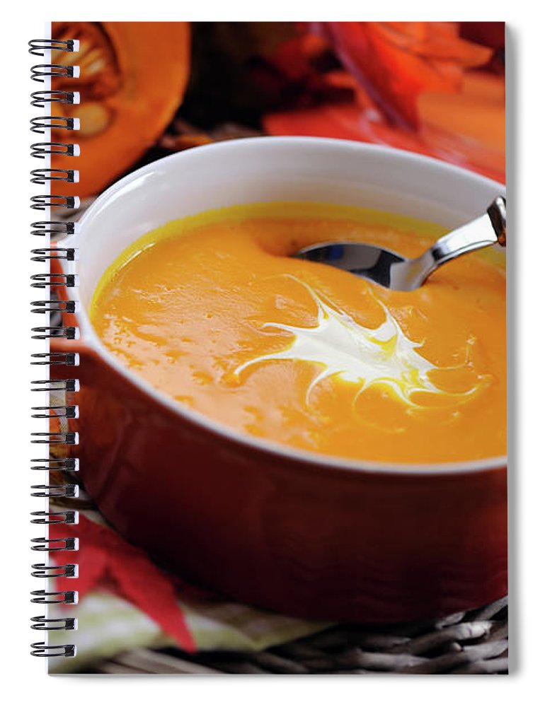 Event Spiral Notebook featuring the photograph Pumpkin Soup In Skew With Creme Fraiche by Moncherie