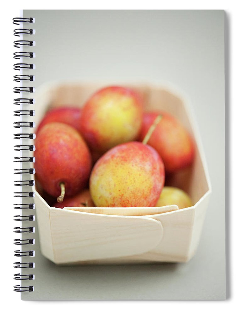 Plum Spiral Notebook featuring the photograph Punnet Of Victoria Plums by Diana Miller