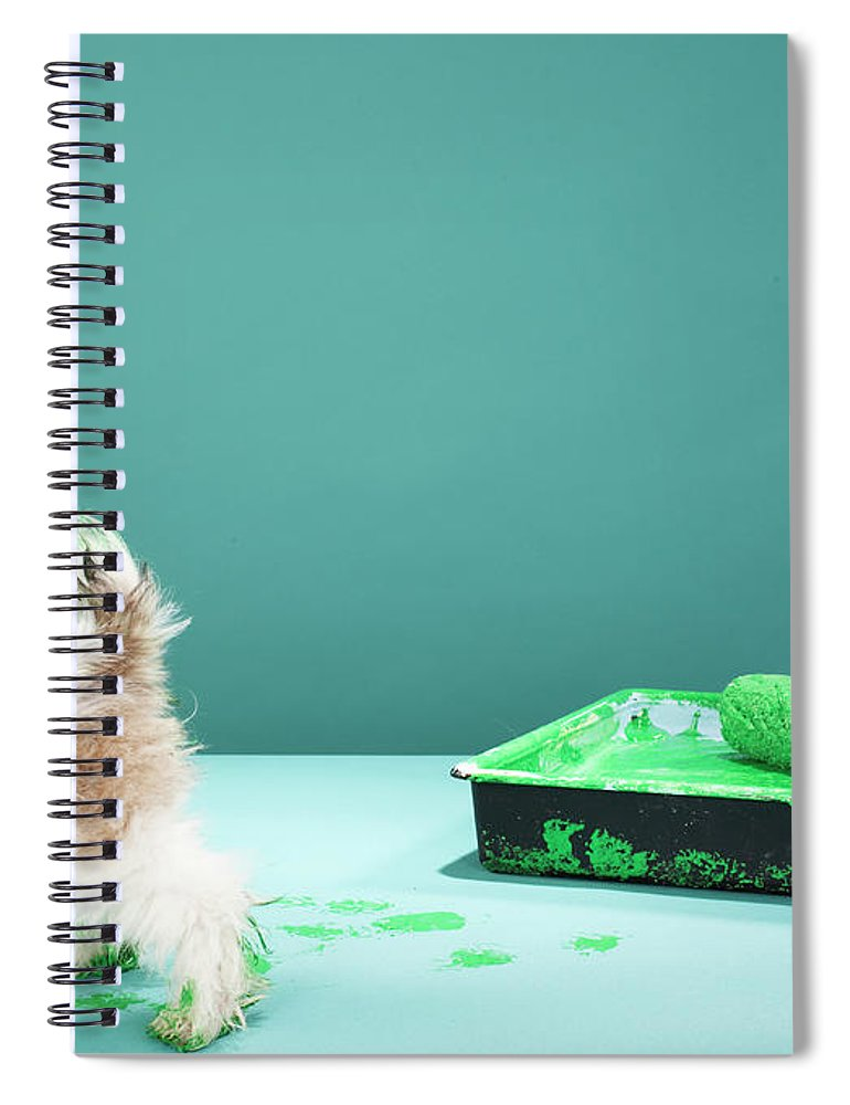 Pets Spiral Notebook featuring the photograph Puppy Making Green Paw Prints From by Martin Poole