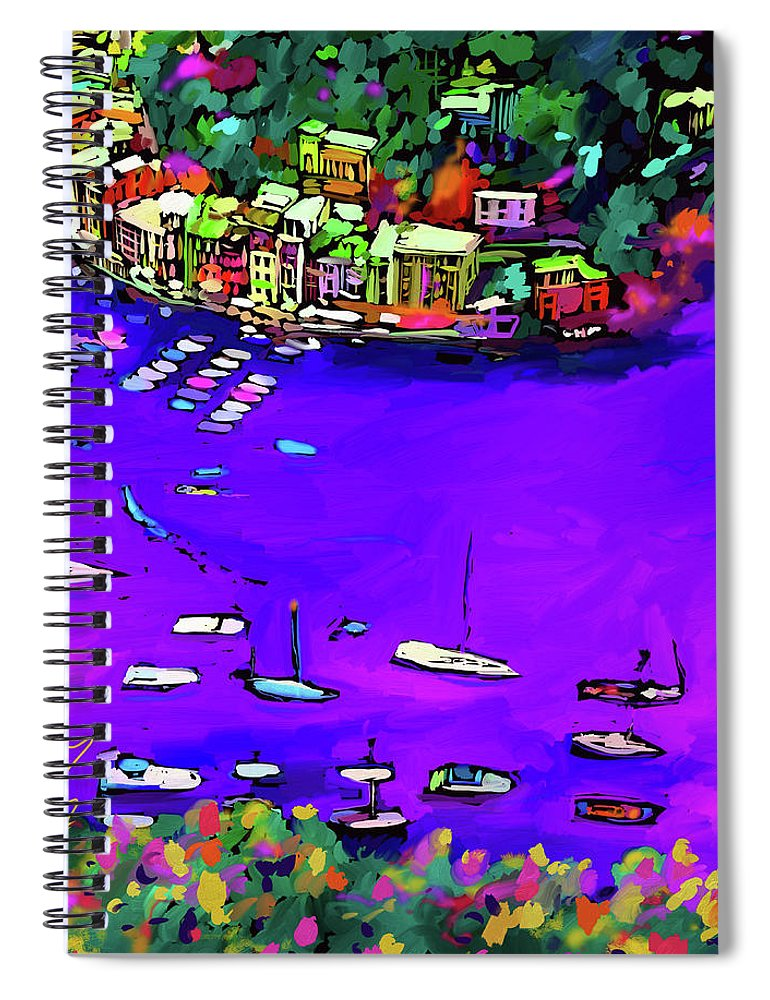 Dc Langer Spiral Notebook featuring the painting Purple Cove by DC Langer