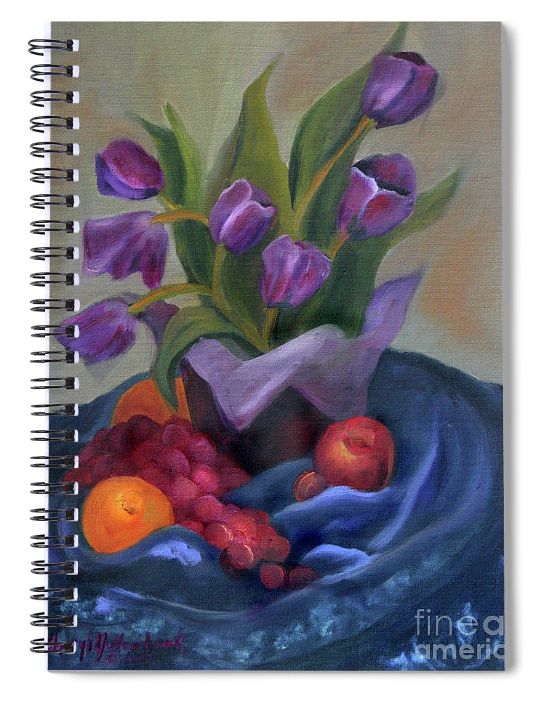 Still Life Spiral Notebook featuring the pastel Purple Tulips On Blue Fabic by Cheryl Yellowhawk