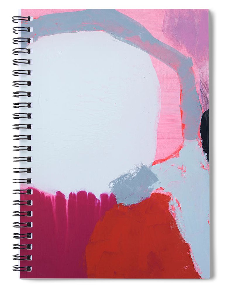 Abstract Spiral Notebook featuring the painting Pussycats In Pussy Hats by Claire Desjardins