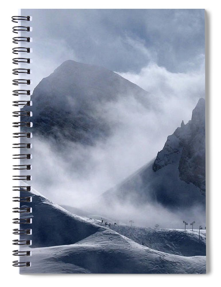 Scenics Spiral Notebook featuring the photograph Pyramide And Roc Merlet In Courchevel by Niall Corbet @ Www.flickr/photos/niallcorbet