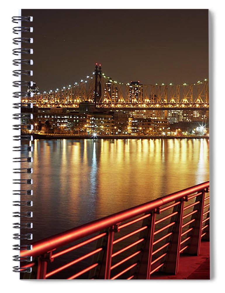 Built Structure Spiral Notebook featuring the photograph Queensboro Bridge At Night by Allan Baxter
