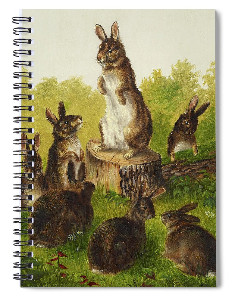 William Jacob Hays Spiral Notebook featuring the painting Rabbits, 1889 by William Jacob Hays