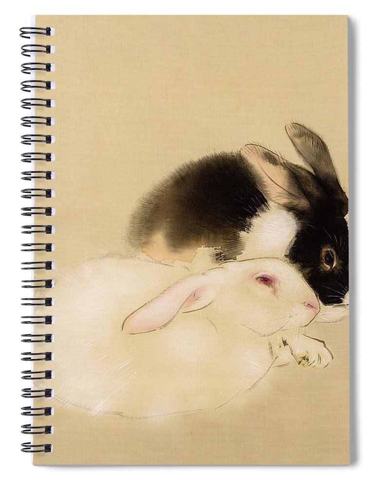 Seiho Takeuchi Spiral Notebook featuring the painting Rabbits by Seiho Takeuchi