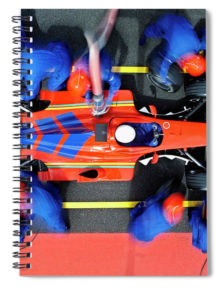 Viewpoint Spiral Notebook featuring the photograph Racecar Driver At The Pit Stop by Fuse