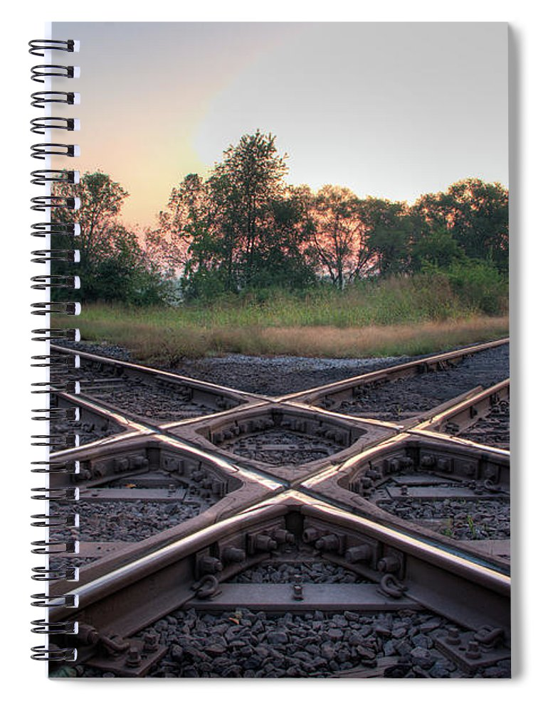 Grass Spiral Notebook featuring the photograph Railroad Diamond by Jerad Heffner
