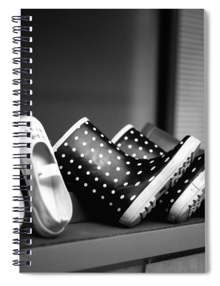 In A Row Spiral Notebook featuring the photograph Rain Shoes by Snap Shooter Jp