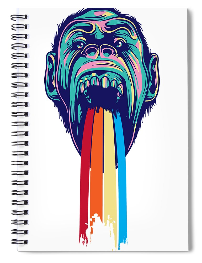 Lgbtq Spiral Notebook featuring the digital art Rainbow Tongued Monkey by Passion Loft
