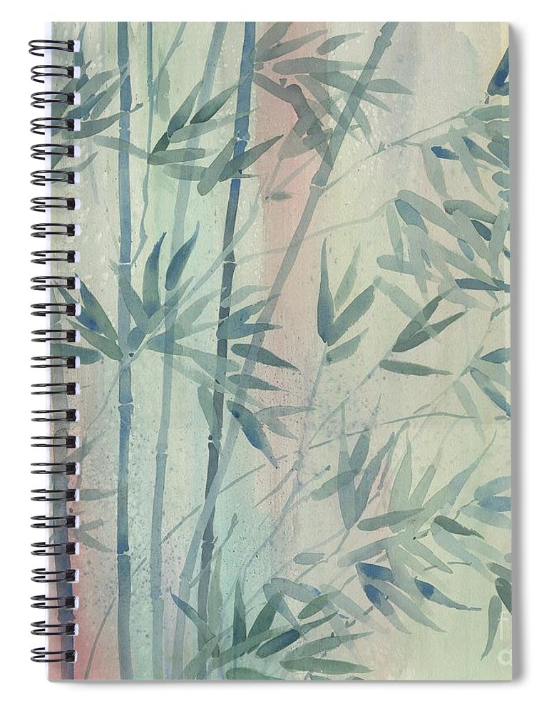 Watercolor Spiral Notebook featuring the painting Rainforest Bamboo by Paul Brent