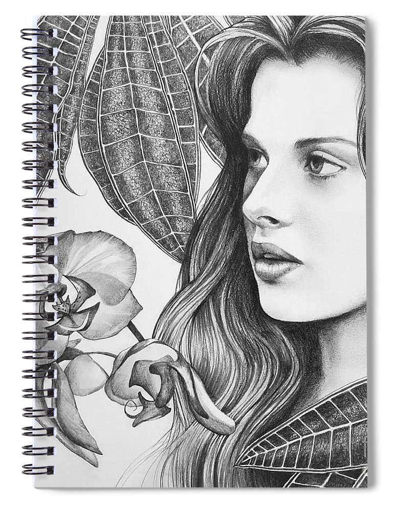 Rappacini's Daughter Spiral Notebook featuring the drawing Rappacini's Daughter by Hunter Jay