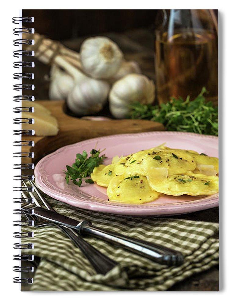 Stuffed Spiral Notebook featuring the photograph Ravioli Pasta by Gmvozd