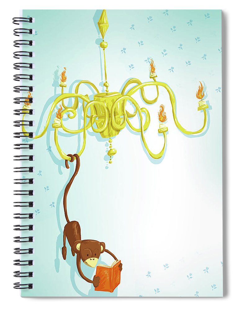 Hanging Spiral Notebook featuring the digital art Reading Monkey by Gabrieletafuni-illustrator