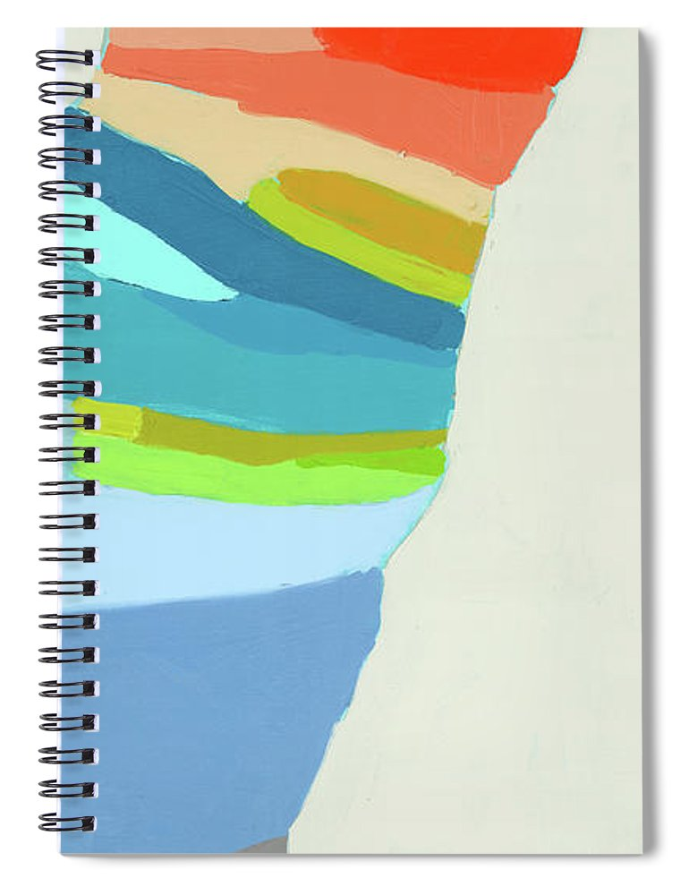 Abstract Spiral Notebook featuring the painting Ready To Make A Splash by Claire Desjardins