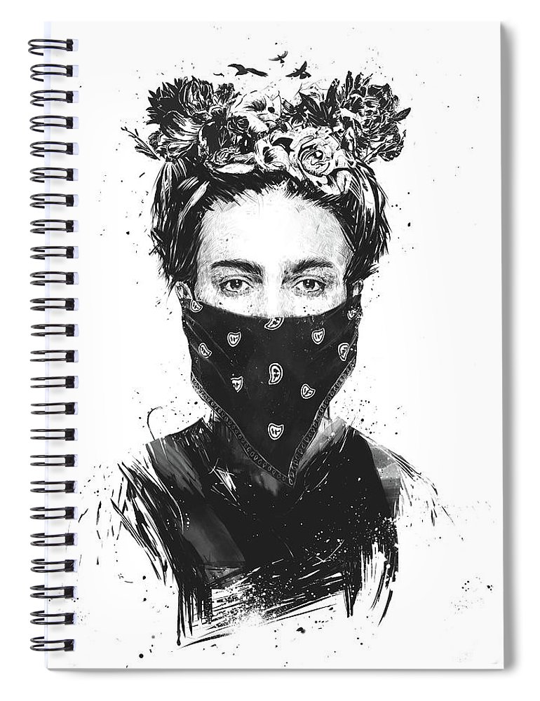 Girl Spiral Notebook featuring the drawing Rebel girl by Balazs Solti