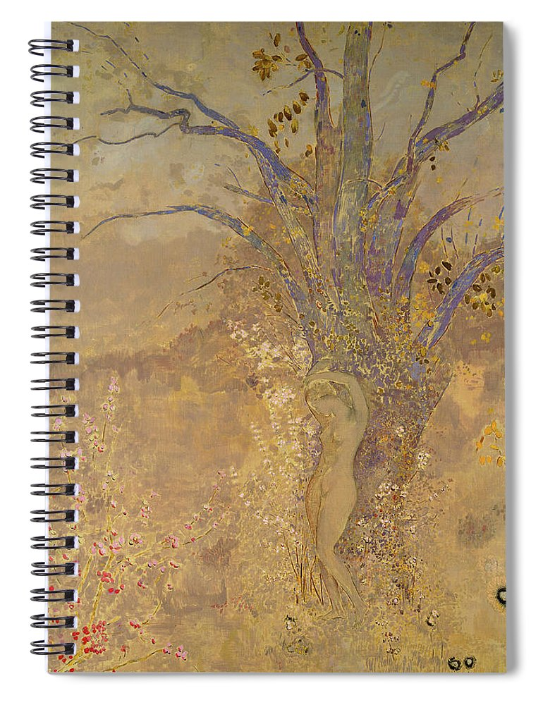 Odilon Redon Spiral Notebook featuring the painting Rebirth, Spring, 1908 by Odilon Redon