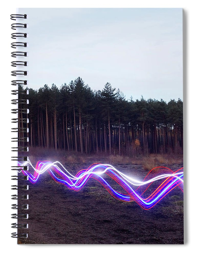 Internet Spiral Notebook featuring the photograph Red, Blue And White Light Trails On by Tim Robberts