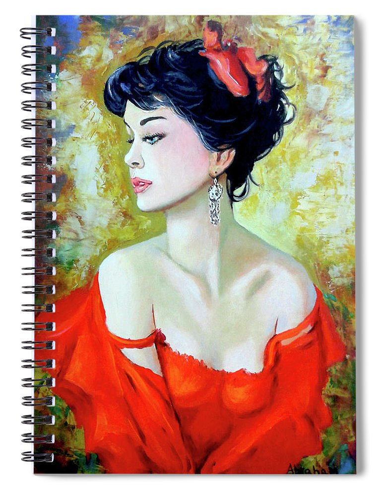 Lady Spiral Notebook featuring the painting Red Lady by Jose Manuel Abraham