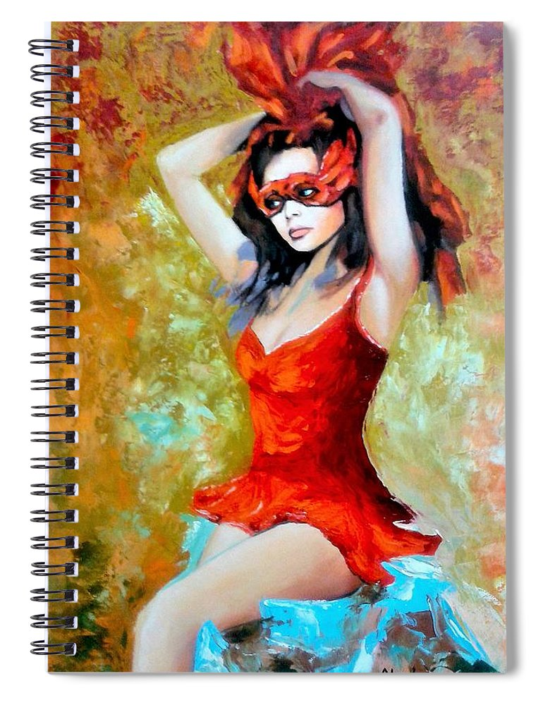 Women Spiral Notebook featuring the painting Red Mask Lady by Jose Manuel Abraham