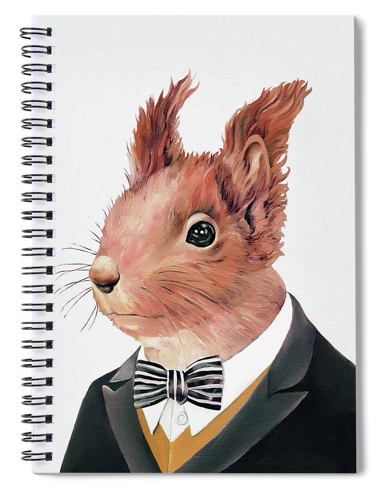 Squirrel Spiral Notebook featuring the painting Red Squirrel by Animal Crew