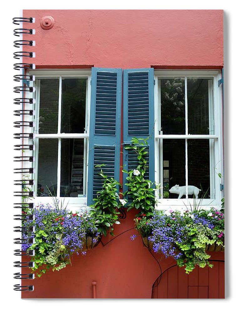 Shutter Spiral Notebook featuring the photograph Red Wall With Windows, Charleston by Mark Swick