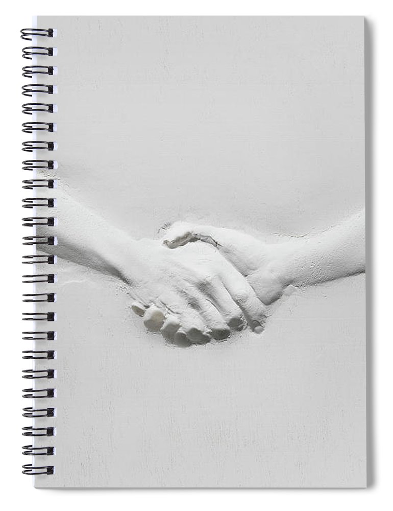 Human Arm Spiral Notebook featuring the photograph Relief Of Handshake by Henrik Sorensen