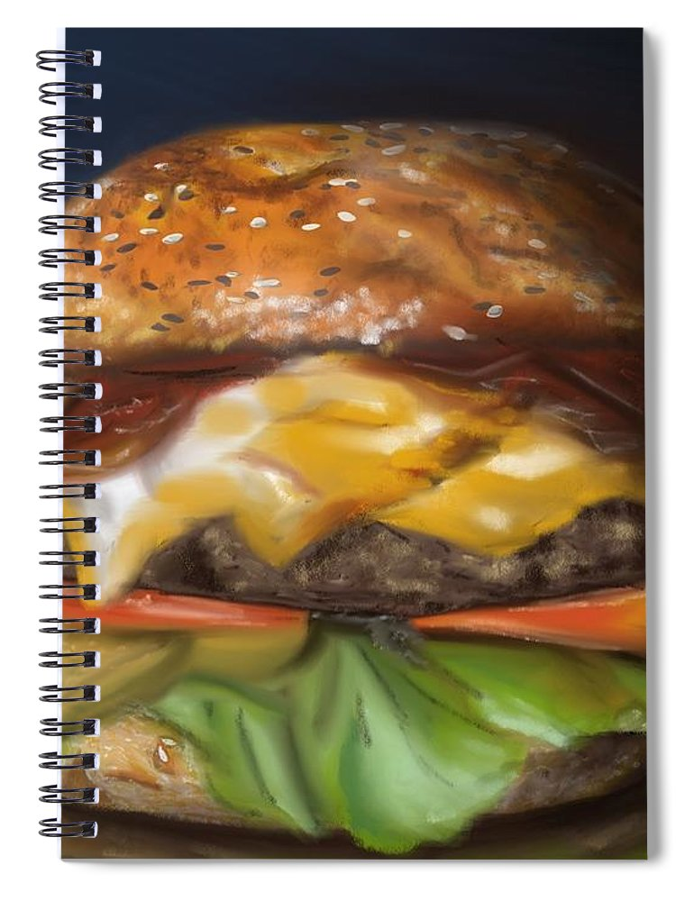 Burger Spiral Notebook featuring the pastel Renaissance Burger by Fe Jones