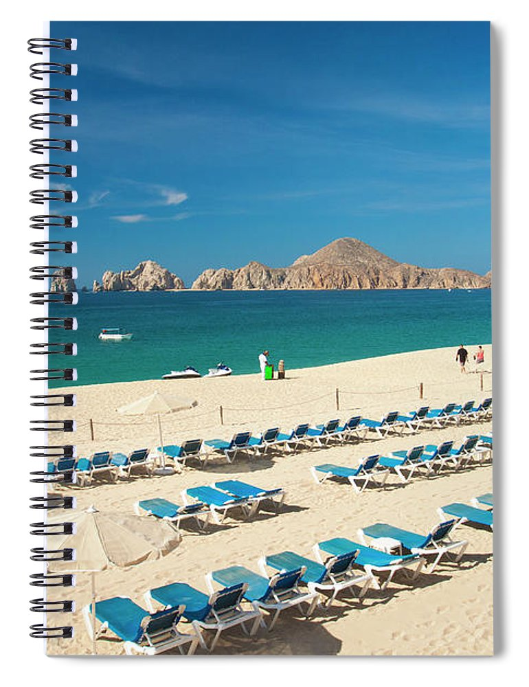 Water's Edge Spiral Notebook featuring the photograph Resort Beach Chairs by Christopher Kimmel