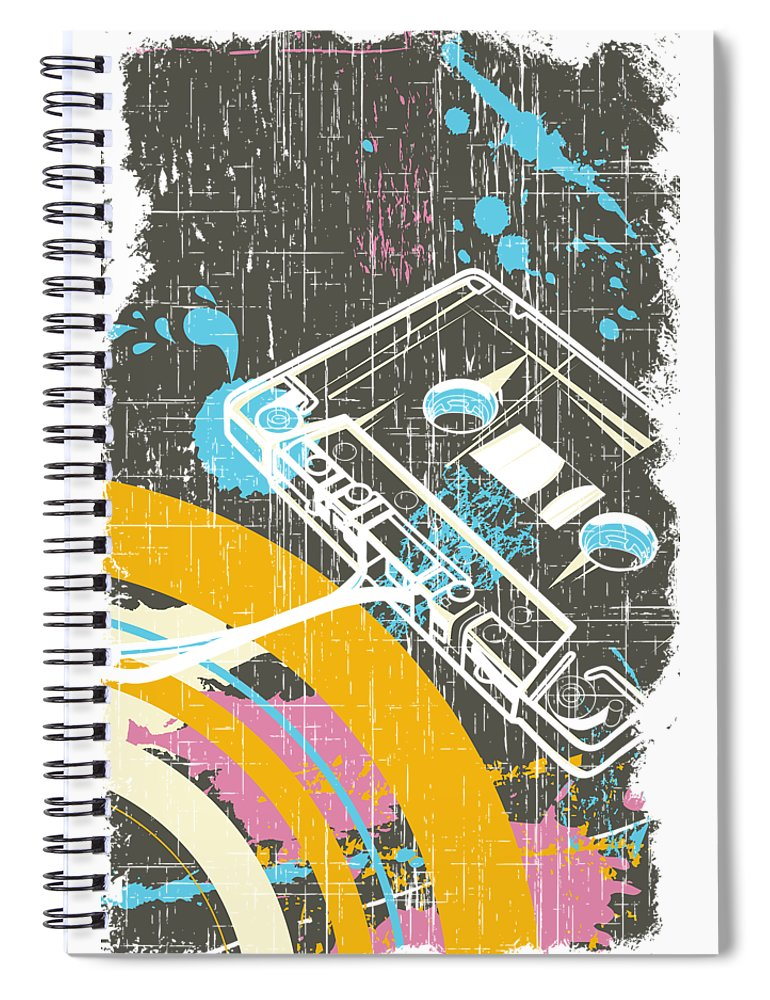Dj Spiral Notebook featuring the digital art Retro Vintage Classic Cassette by Passion Loft