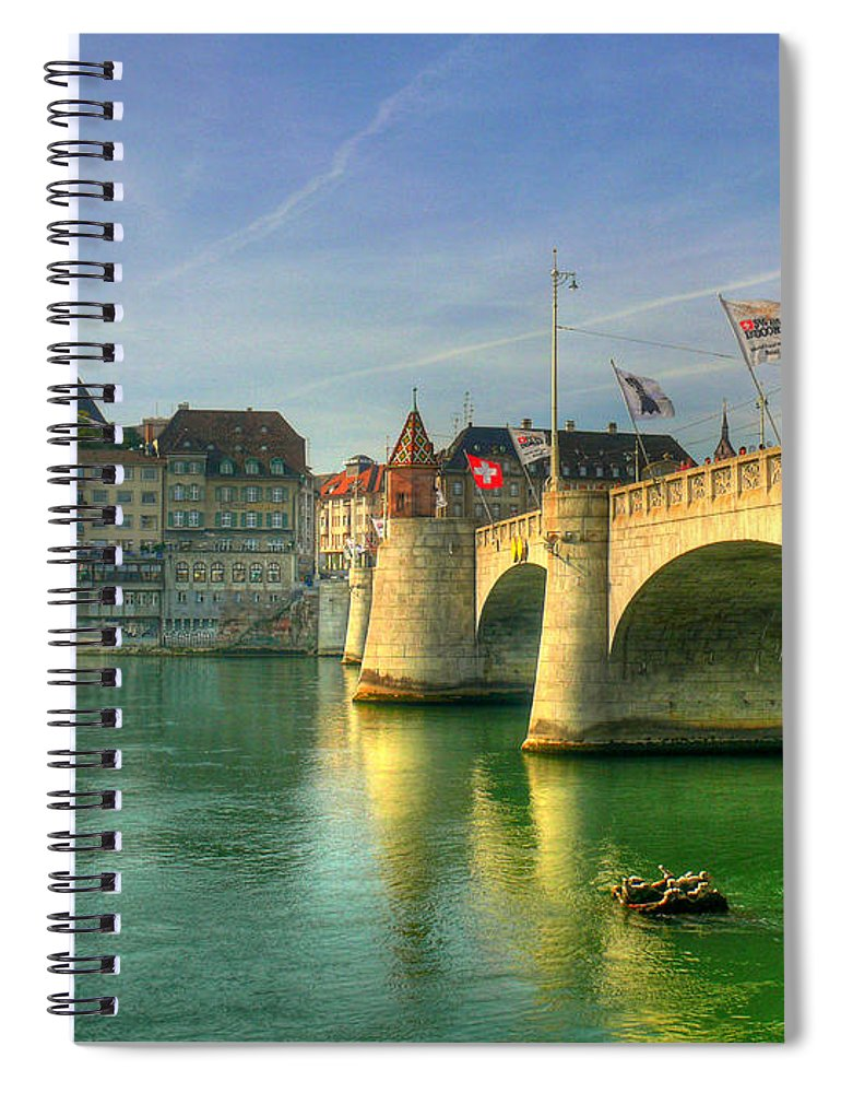 Outdoors Spiral Notebook featuring the photograph Rhine Bridge In Basel by Richard Fairless