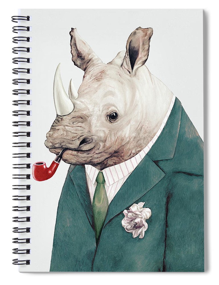 Rhino Spiral Notebook featuring the painting Rhino in Teal by Animal Crew
