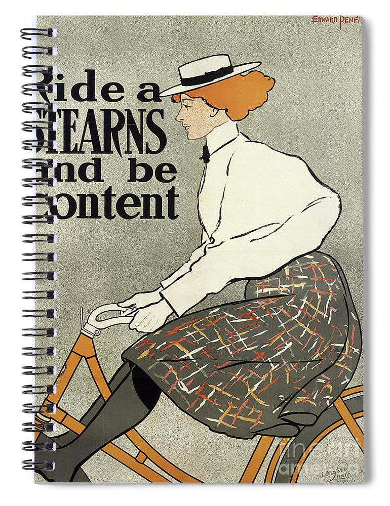 Penfield Spiral Notebook featuring the drawing Ride A Stearns And Be Content, Circa 1896 by Edward Penfield