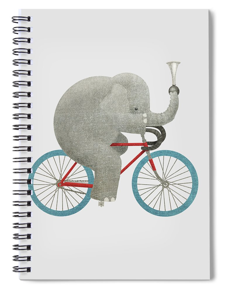 Elephant Spiral Notebook featuring the drawing Ride by Eric Fan