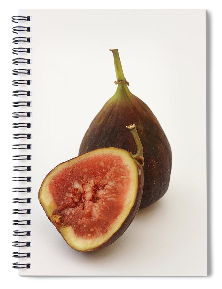 White Background Spiral Notebook featuring the photograph Ripe, Fresh Figs On White Background by Rosemary Calvert