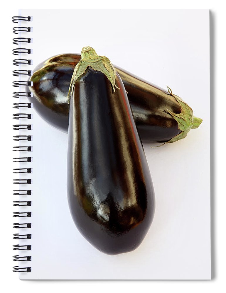 White Background Spiral Notebook featuring the photograph Ripe, Organic Aubergines On White by Rosemary Calvert