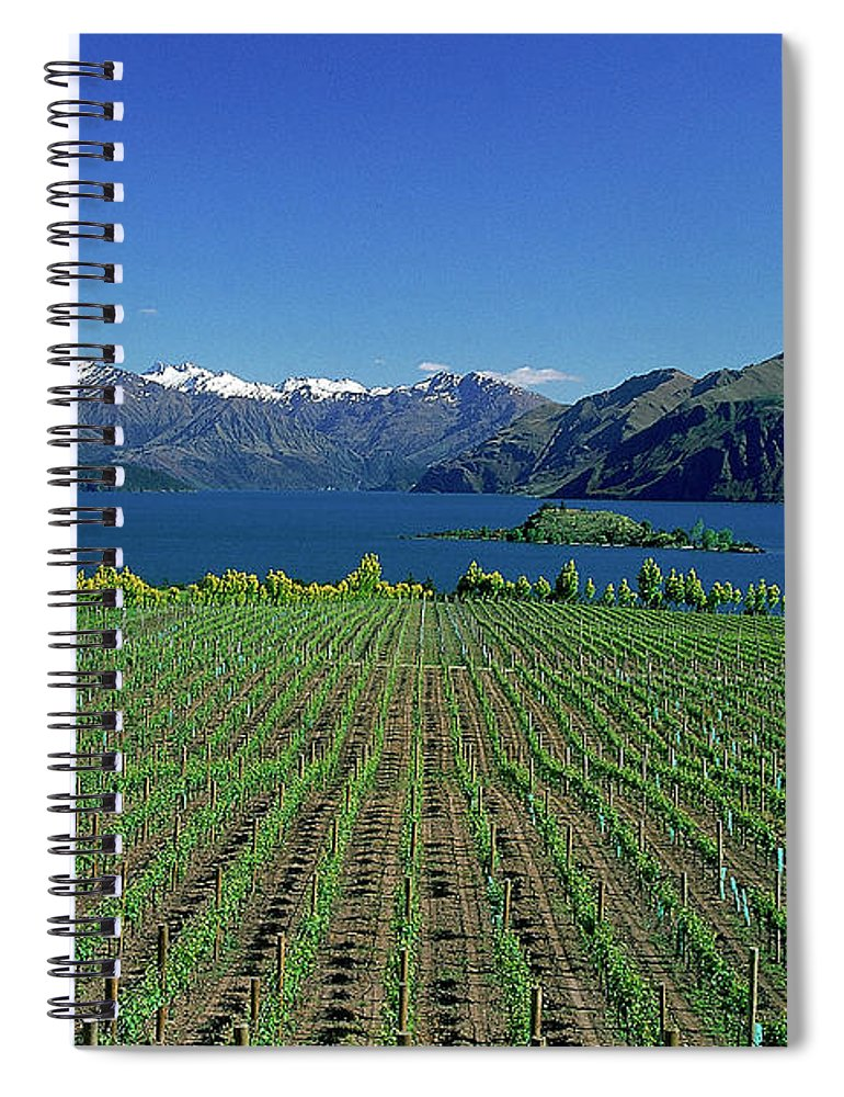 Snow Spiral Notebook featuring the photograph Rippon Vineyard & Lake Wanaka, South by Robin Smith