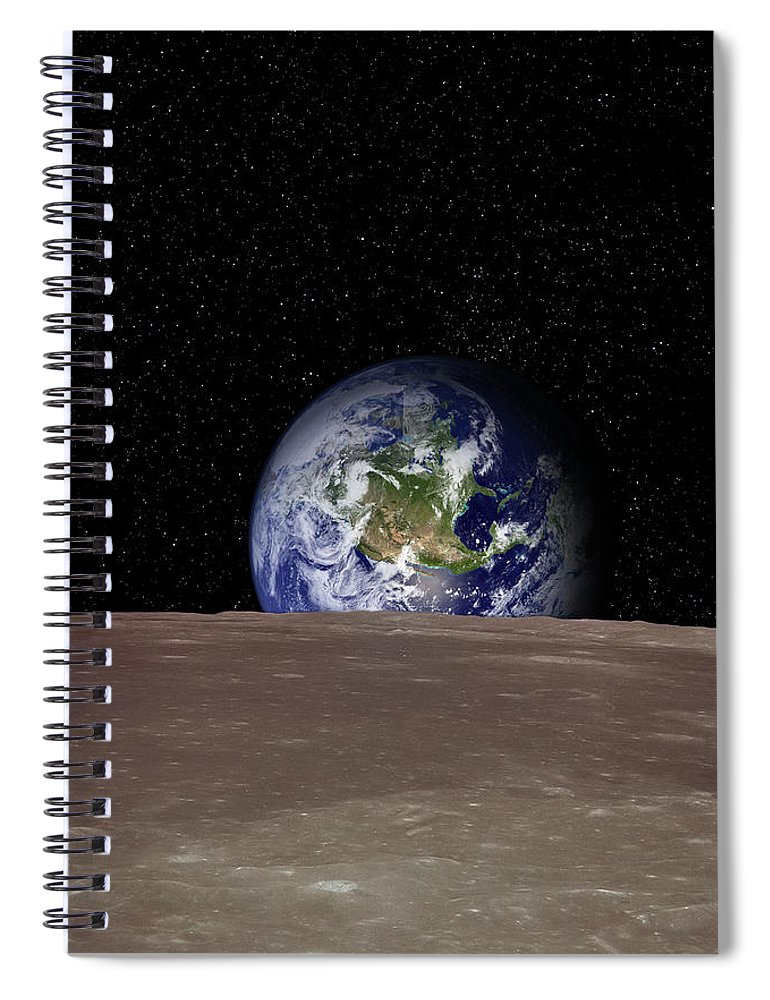 Landscape Spiral Notebook featuring the photograph Rising Earth Over Moon Surface by Photovideostock