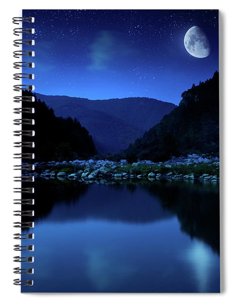 Water's Edge Spiral Notebook featuring the photograph Rising Moon Over Lake by Da-kuk