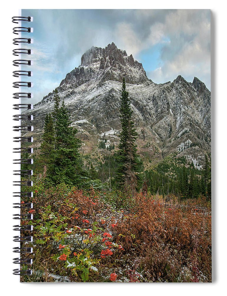 00575365 Spiral Notebook featuring the photograph Rising Wolf Mountain, Glacier National by Tim Fitzharris