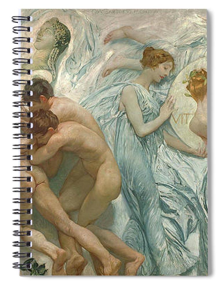 Giulio Aristide Sartorio Spiral Notebook featuring the painting Rite by Giulio Aristide Sartorio