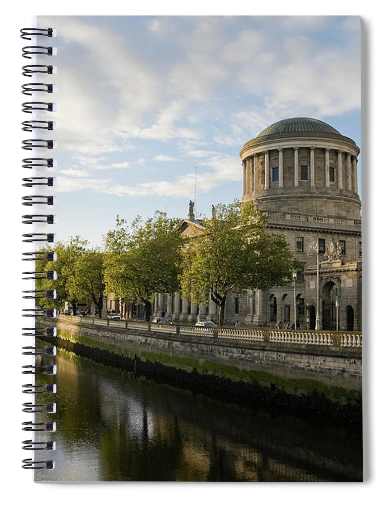 Dublin Spiral Notebook featuring the photograph River Liffey And The Four Courts In by Lleerogers