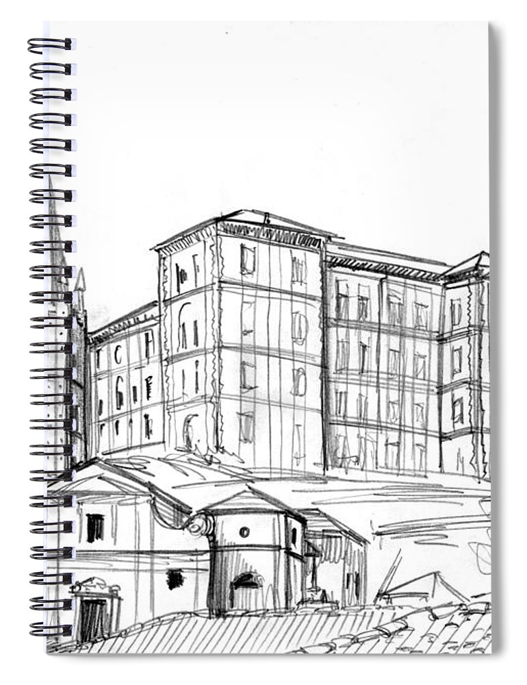 Italy Spiral Notebook featuring the drawing Rivoli Pencil by Andrea Gatti